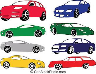 różny, wóz, kolor, zbiór