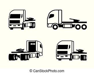 różny, wózek, perspektywa, traktor