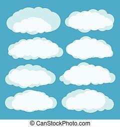 różny, wektor, chmury, komplet