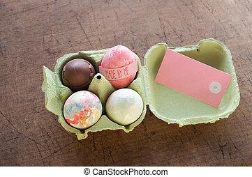 różny, wielkanoc, cztery, karta, jajko, niniejszy