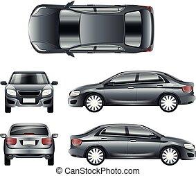różny, wizje lokalne, kolor, wóz, kropka, wektor, szablon, sedan