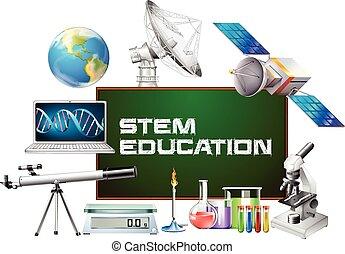 różny, wykształcenie, deska, urządzenia, pień