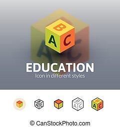 różny, wykształcenie, styl, ikona