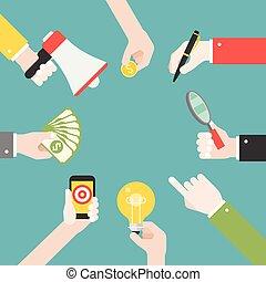 różny, wyolbrzymiać, handlowy, osiąganie, dużo, strategia, megafon, siła robocza, obiekty, taki, szkło, lightbulb, gol