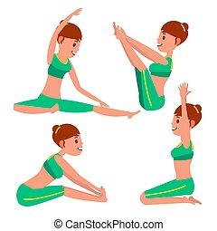 różny, yoga, vector., rozciąganie, litera, odizolowany, twisting., practicing., poses., ilustracja, samica, biały, interpretacja, woman., rysunek