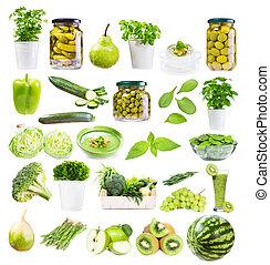 różny, zielony, jadło, odizolowany, na białym, tło