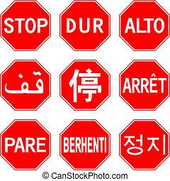 różny, znak, zatrzymywać, kraje