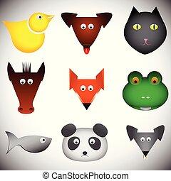 różny, zwierzęta, komplet, abstrakcyjny, ilustracja, wektor