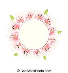 różowa lilia, wieniec, chorągiew