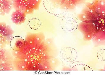 różowe kwiecie, żółte tło