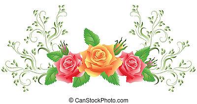różowe róże, żółty