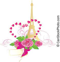 różowe róże, wieża, eiffel