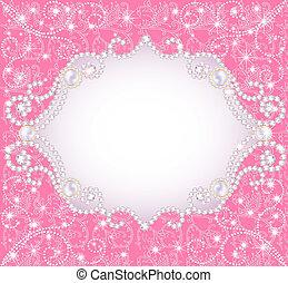 różowe tło, zapraszając, perły