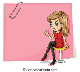 różowy, ładny, signage, przód, dama, opróżniać