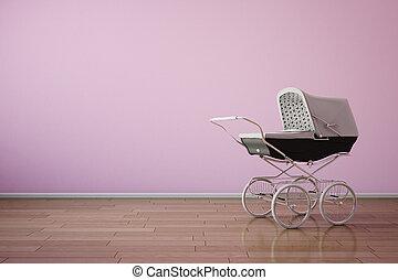 różowy, ściana, poziomy, spacerowicz, niemowlę