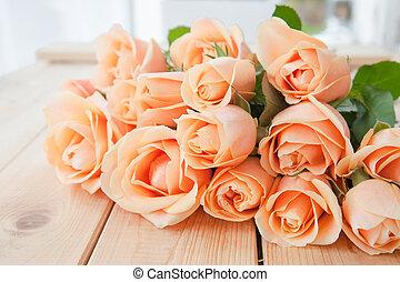 różowy, świeży, róże