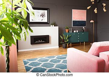różowy, żyjący, prawdziwy, pokój, płonący, bagieta, sofa, photo., ciemny, przód, ściany, rośliny, hipster, wewnętrzny, zielony, fireplace.