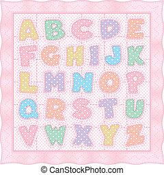 różowy, alfabet, kołdra, pastel