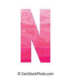 różowy, alfabet, n