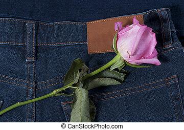 różowy, błękitny jean, róża