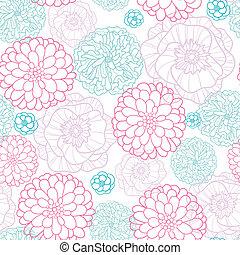 różowy, błękitny, próbka, seamless, tło, lineart, kwiaty