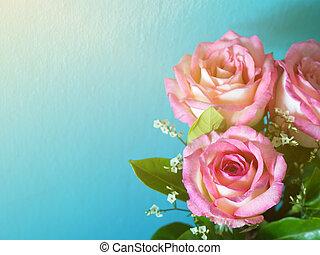 różowy, błękitny, słońce, rano, róże, tło