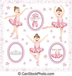 różowy, balerina, collage, cyfrowy