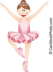 różowy, balerina, dziewczyna, tutu, szczęśliwy