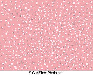 różowy, białe tło, gwiazdy