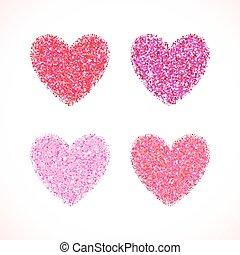 różowy, blask, valentine, dzień, serce, forma., wektor, tło, dla, poślubne zaproszenie, powitanie, card., czarowny, iskrzasty, chorągiew, zasłona