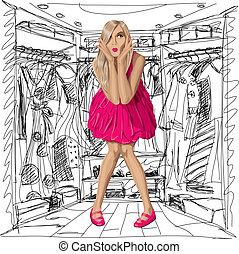 różowy, blondynka, wektor, strój, zdziwiony