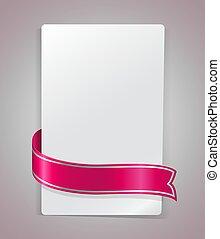 różowy, chyląc, wektor, dookoła, papier, wstążka, czysty, template., karta