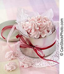 różowy, ciasteczka, beza