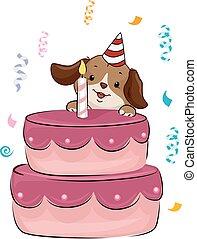 różowy, ciastko, confetti, pies, urodziny