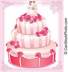 różowy, ciastko, wektor, ślub