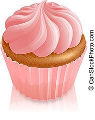różowy, ciastko, wróżka, cupcake