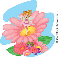 różowy, cielna, kwiat, chochlik, nad
