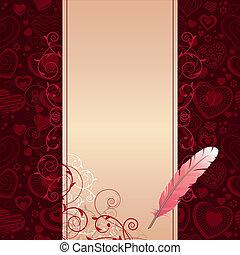 różowy, ciemny, beżowe tło, serca, pióro, woluta