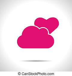 różowy, częściowo, cloudy., wektor, pogoda, eps10, icon.