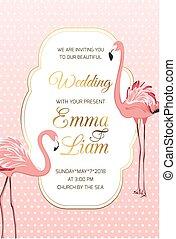 różowy czerwonak, ułożyć, poślubne zaproszenie, ptaszki, karta