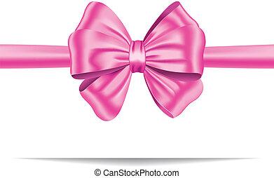 różowy, dar, wstążka, z, łuk