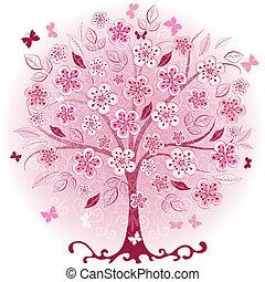 różowy, dekoracyjny, drzewo, wiosna