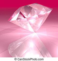 różowy, diament