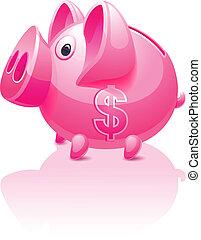 różowy, dolar, piggy bank, znak