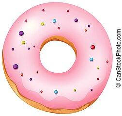 różowy, donut, białe tło