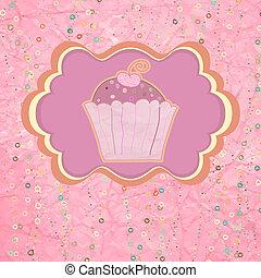 różowy, dots., polka, eps, cupcake, 8, etykieta