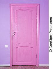 różowy, drzwi, zamknięty