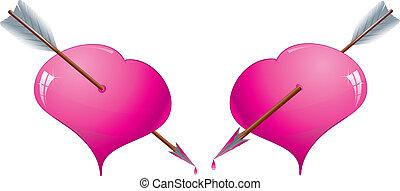 różowy, dwa, ilustracja, przedziurawiony, wektor, strzały, serca, blask
