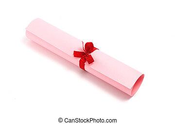 różowy, dyplom, woluta