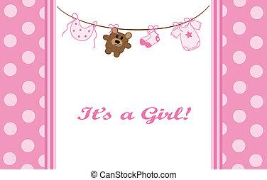 różowy, dziewczyna niemowlęcia, zawiadomienie